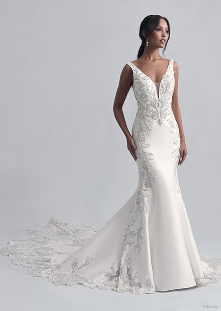 A woman wears the Jasmine wedding gown from the 2021 Disney Fairy Tale Weddings Platinum Collection