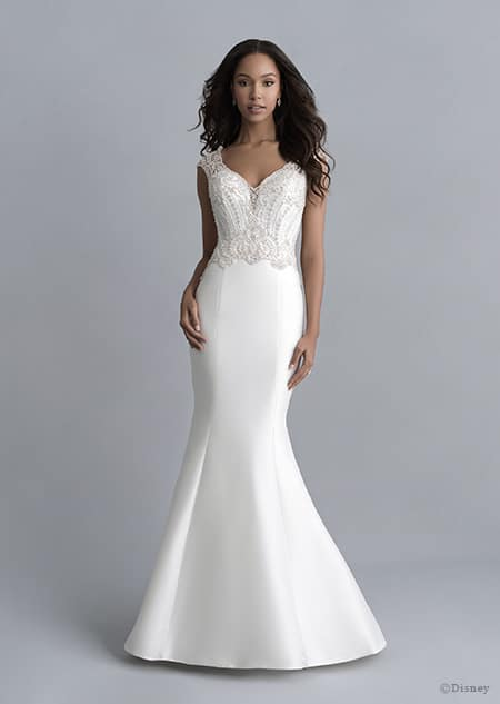 A woman wears the Jasmine wedding gown from the 2020 Disney Fairy Tale Weddings Platinum Collection