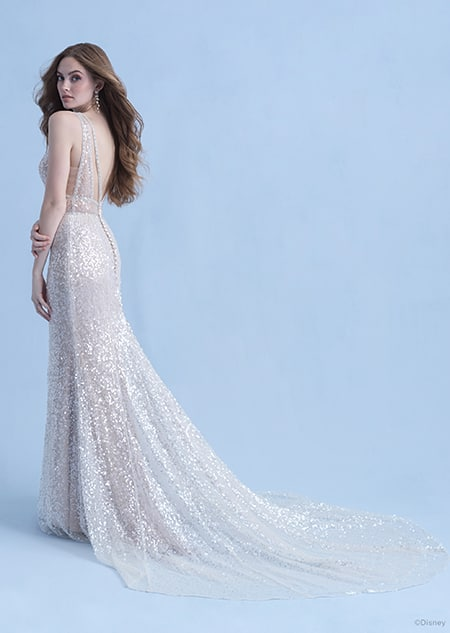 A back side view of a woman in the Ariel wedding gown from the 2021 Disney Fairy Tale Weddings Collection