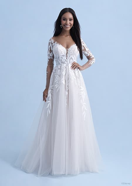 A woman wearing the Pocahontas wedding gown from the 2021 Disney Fairy Tale Weddings Collection