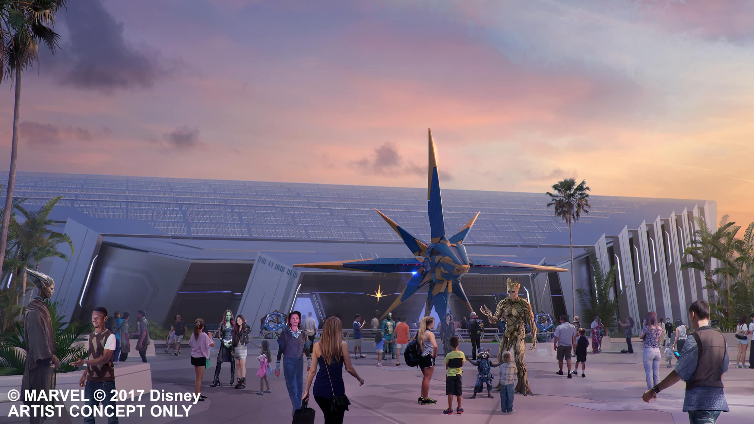 Conceptual art depicting Guests standing by a 'Guardians of the Galaxy' themed mural