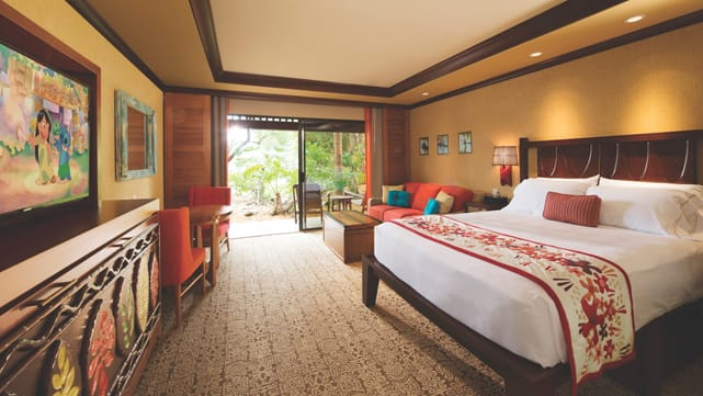The interior of a Deluxe Studio at Disney�s Polynesian Villas & Bungalows